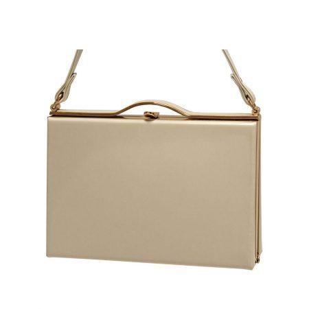 Envy Beige Patent Box Style Handbag