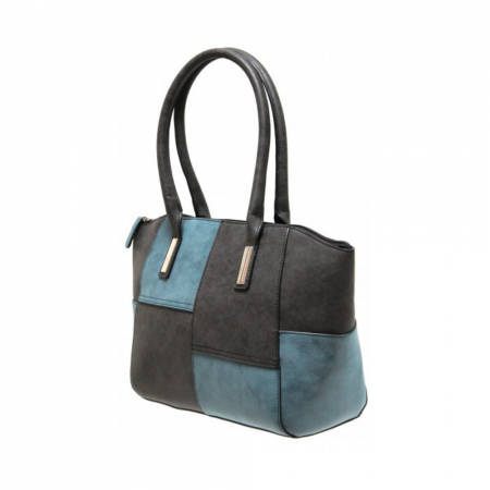 Envy Blue Black Contrast Handbag