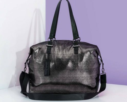 Claudia Canova Metallic Pewter Large Holdall Bag