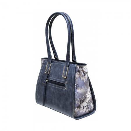 Envy Dark Blue Multi Print Handbag