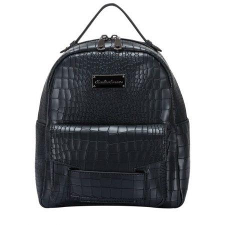 Claudia Canova Black Croc Print Backpack