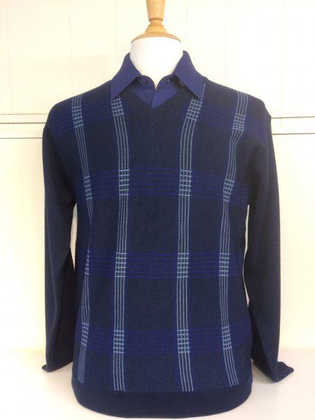 Gabicci Dark Blue V Neck Knitwear Jumper