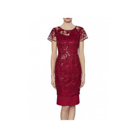 Gina Bacconi Wine Red Lace Dress