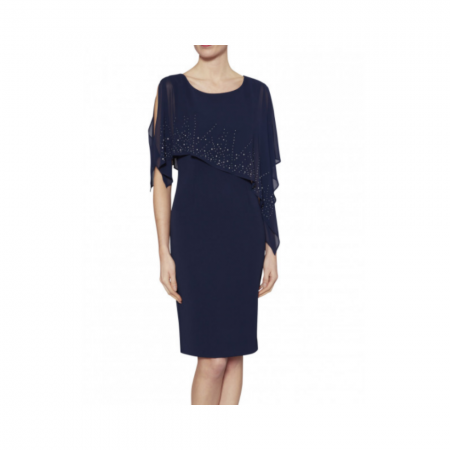 Gina Bacconi Navy Chiffon Cape Dress
