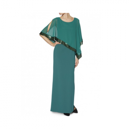 Gina Bacconi Green Chiffon Evening Gown
