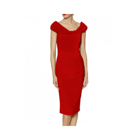 Gina Bacconi Red Ruched Party Dress