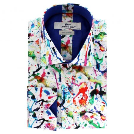 Claudio Lugli White Splash Print Shirt
