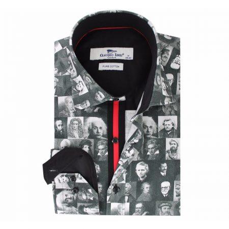 Claudio Lugli Grey Face Print Shirt