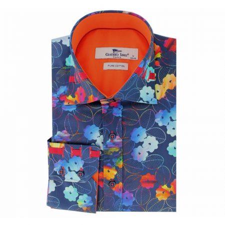 Claudio Lugli Blue Floral Print Shirt