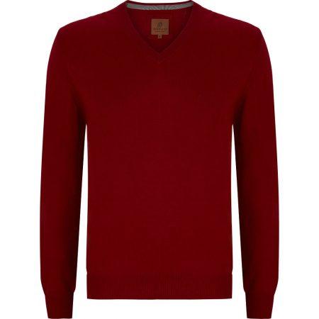 Douglas Red V Neck Knit Sweater