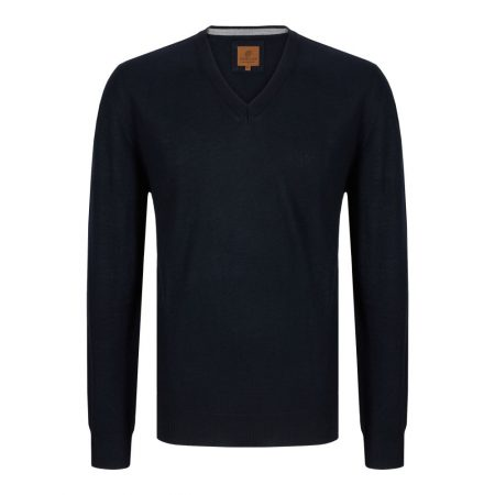 Douglas V Neck Navy Knit Sweater