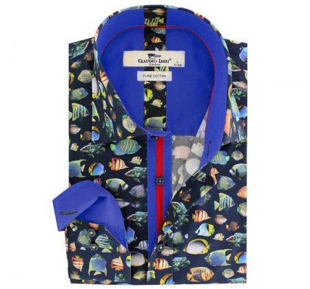 Claudio Lugli Navy Aquatic print shirt