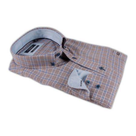 Giordano brown check button down shirt
