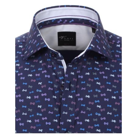 Venti Bow Tie Print Navy Blue Shirt
