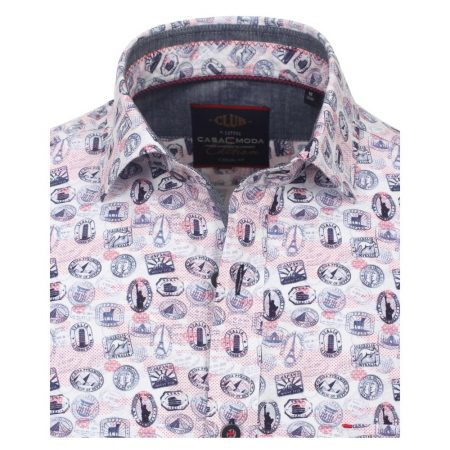 Casa Moda Pink World Travel Print Shirt