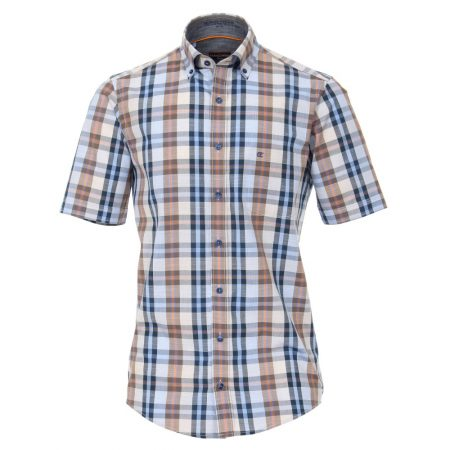 Casa Moda Short Sleeve Check Multi Shirt