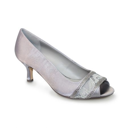 Lunar Casely Dark Grey Satin Kitten Heels