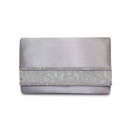 Lunar Casely Dark Grey Satin Evening Bag