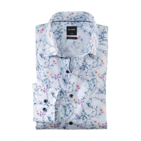 Olymp White Floral Print Dress Shirt