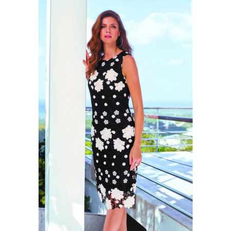 Frank Lyman Black Floral Lace Dress