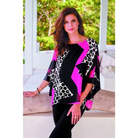 Frank Lyman Black Print Cape Top