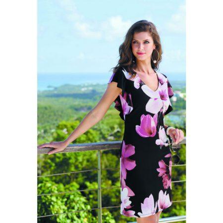 Frank Lyman Black Floral Print Dress