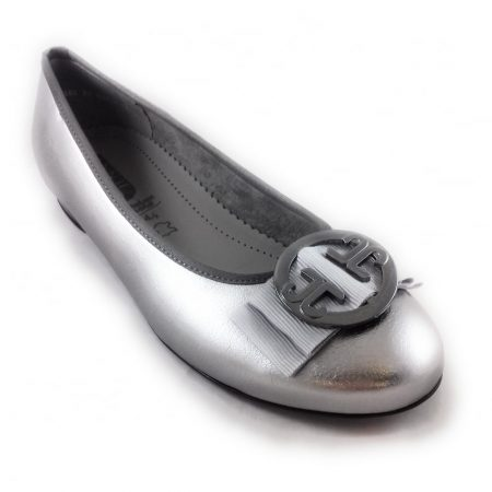 Jenny Ara Pisa Metallic Pewter Ballet Flats