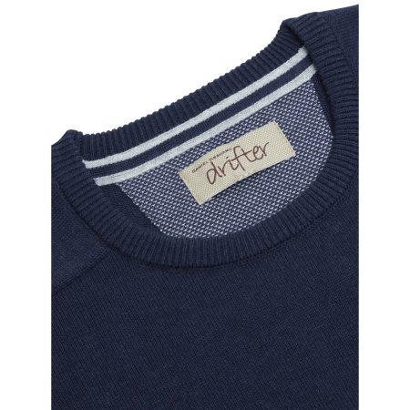 Drifter Navy Crew Neck Knit Jumper