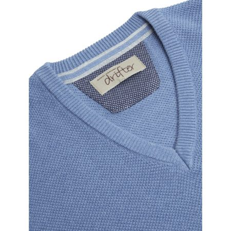 Drifter Sky Blue V Neck Knit Jumper