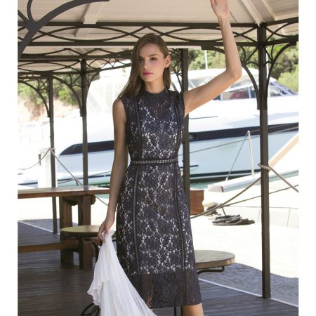 Michaela Louisa Navy Floral Lace Dress