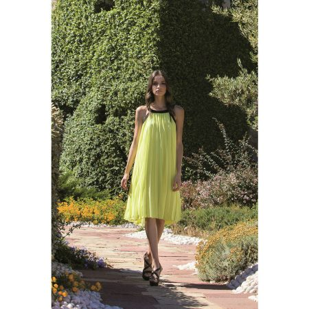 Michaela Louisa Lime Green Pleated Dress