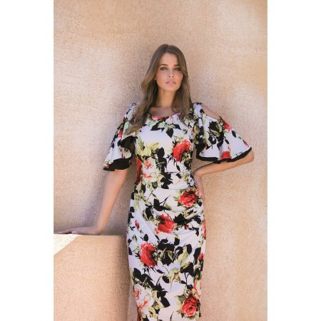 Michaela Louisa White Floral Print Dress