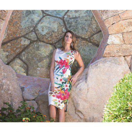 Michaela Louisa White Tropical Print Dress