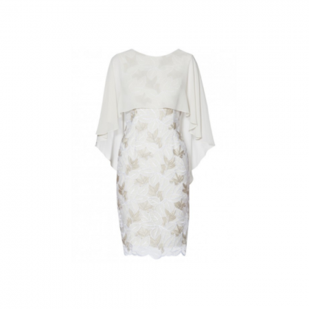 na Bacconi Cream Floral Cape Dress