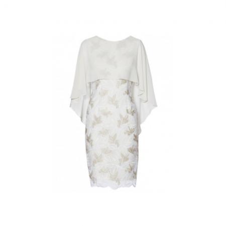 na Bacconi Cream Floral Cape Dress