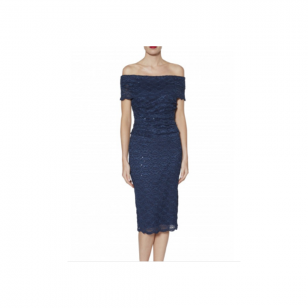 Gina Bacconi Navy Lace Bardot Dress