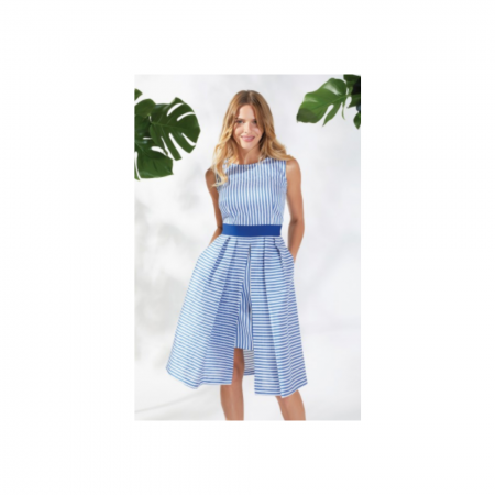 Gina Bacconi Blue Striped Statement Dress