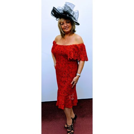 Gina Bacconi Red Lace Bardot Dress