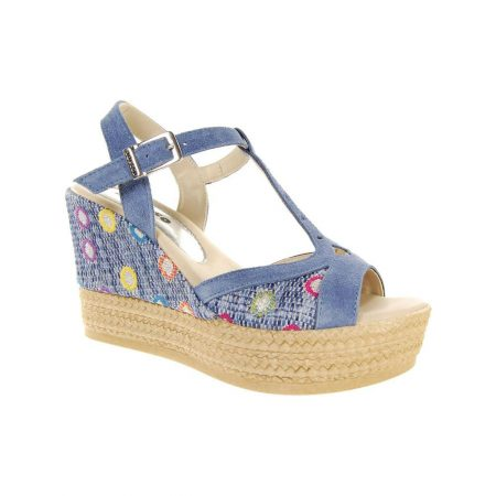 Adesso Gabby Blue High Wedge Sandals