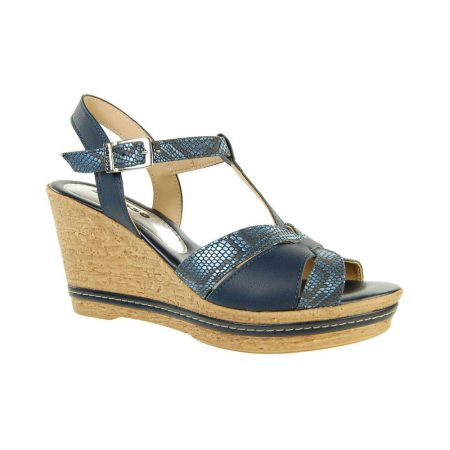 Adesso Tamsin Navy Leather Wedge Sandals