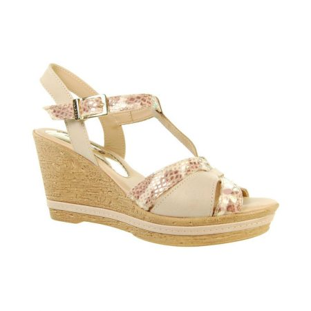 Adesso Tamsin Beige Leather Wedge Sandals