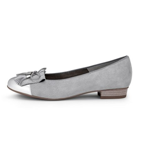 Ara Bari Pewter Leather Ballet Flat Shoes
