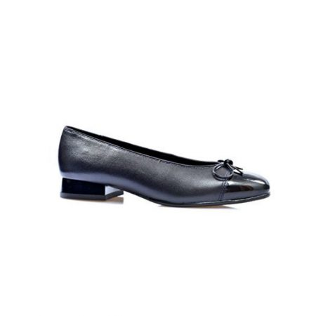 Ara Bari Navy Leather Ballet Flat Shoes