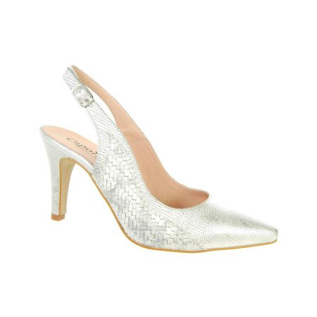 Capollini Luanne Silver Leather Heels