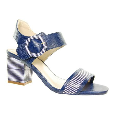 Capollini Susie Navy Stripe Leather Sandals
