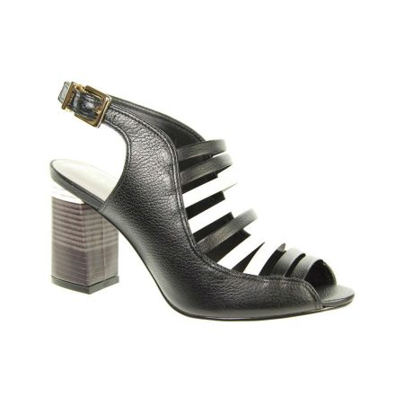 Capollini Gina Black Leather Heeled Sandals