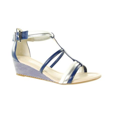 Capollini Chrissie Navy Leather Wedge Sandals