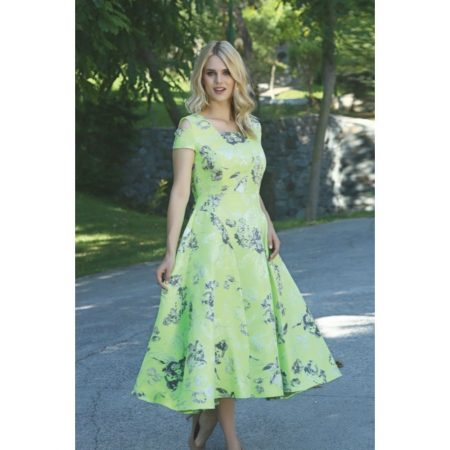 Ella Boo Lime Green Floral Print Dress