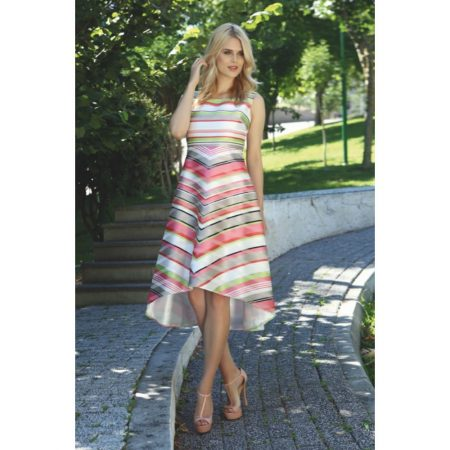 Ella Boo Pastel Striped Asymmetric Dress