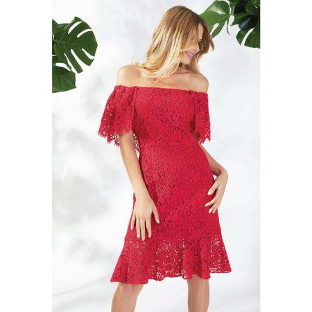 Gina Bacconi Red Lace Bardot Dress